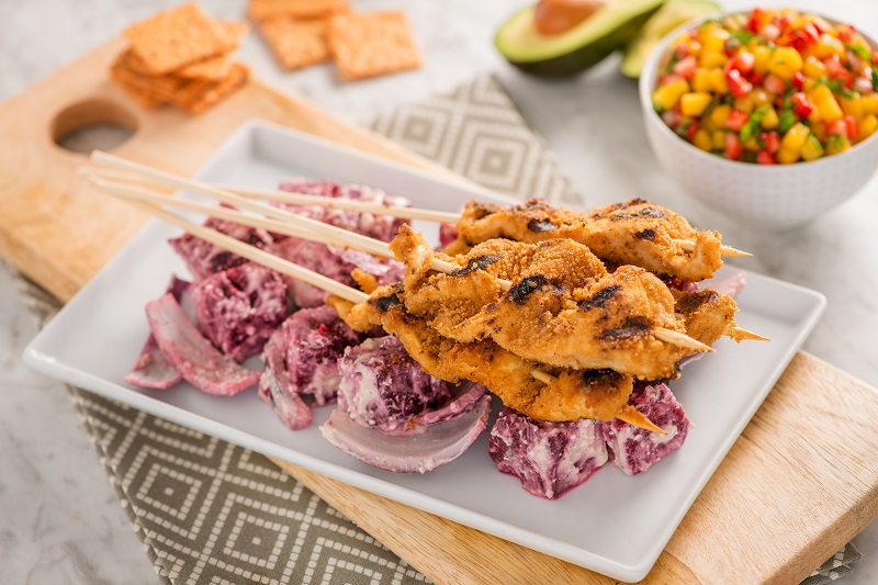 Grilled Beet Chicken Kebabs with Avocado