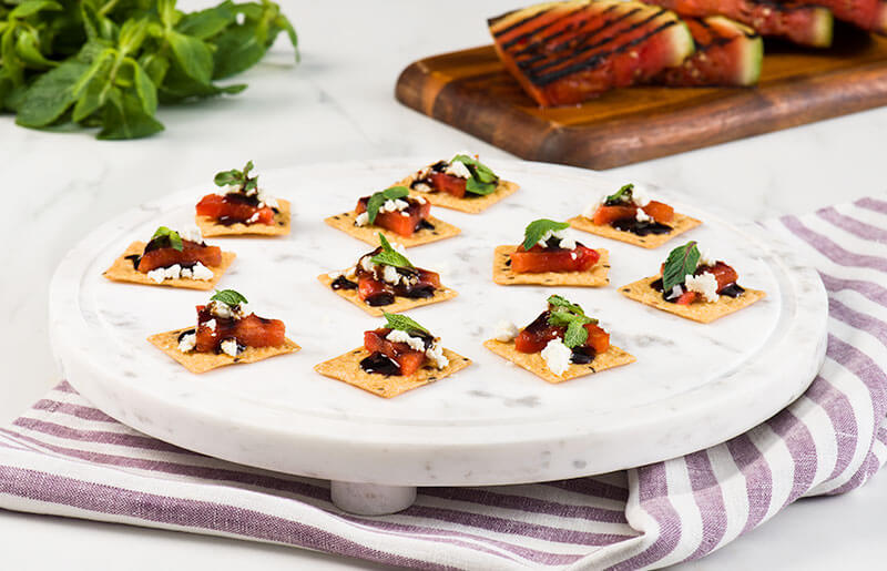 Grilled Watermelon, Feta, and Balsamic Cracker Canapes